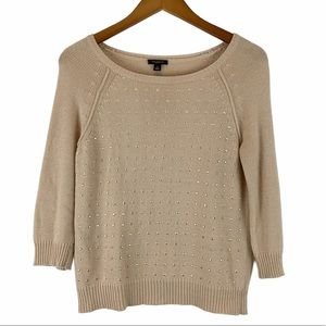 Ann Taylor Studded Crew Neck Sweater S